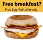 Free Egg McMuffin at McDonald's