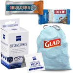 Free CLIF BAR Chocolate Chip, ZEISS Lens Wipes, CLIF BUILDERS Protein Bar, and Glad Scented Trash Bags Sample